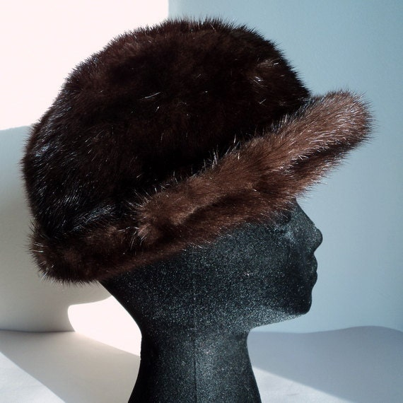 Vintage 1950's Brown Mink Fur Winter Hat