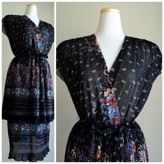 SALE -  1970's Black Floral Dress // Vintage Black Sheer Floral Paisley Layered Dress