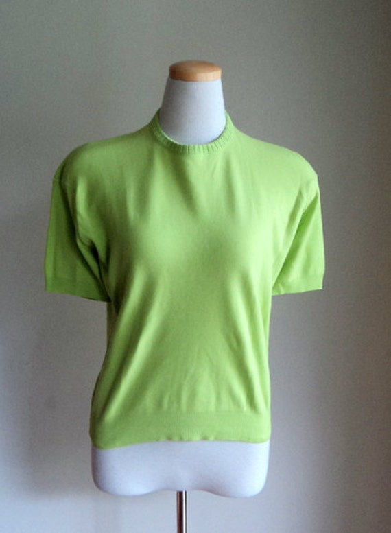 Vintage 1960's Ban-Lon style Yellow Green Short Sleeve Sweater Pullover // Casual Sport Shirt // Chartreuse Shirt