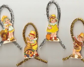 Vintage Looking Thanksgiving Kids Ornaments