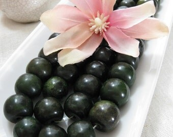 CLEARANCE SALE Dark Hunters Green Dyed Large Jade Drums Beads 14mm by 18mm 6pcs