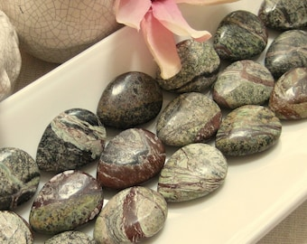 CLEARANCE SALE Natural Rain forest Marble Teardrop Pendant Bead 30mm by 22mm 1pc NOW 2