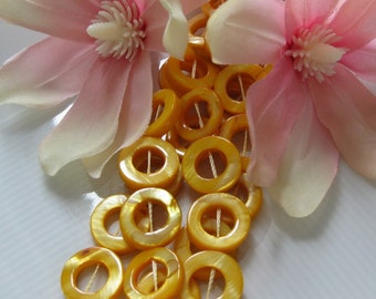 15mm Sunshiny Yellow Mother of Pearl MOP Donuts 6pcs