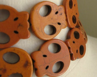 CLEARANCE SALE 25% OFF Orange Dyed Magnesite Flat Skulls 25mm by 28mm 2 pcs (1 pair)