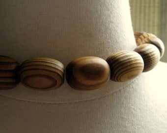 Natural Honey Toned Wooden Beads 25mm by 18mm 4pcs