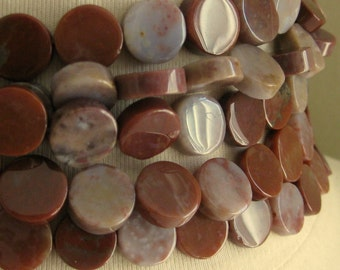 Maroon and Lavender Fancy Jasper Highly Polished Coin Beads 13mm 5 inches (12.5cm) 10pcs