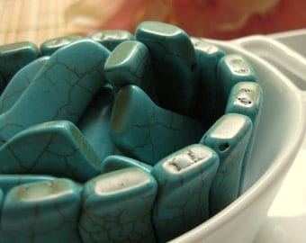 Double Drilled Turquoise Dyed Magnesite Squiggly Bead 11mm by 32mm 2pcs