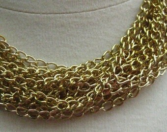 Hefty Gold Plated Curb Chain 7mm by 5mm 10 Feet (3 meters) open links