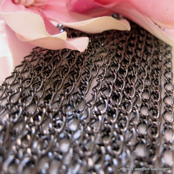Shiny Grey Black Gunmetal Short Figaro Closed Link Chain 3 feet (91cm)