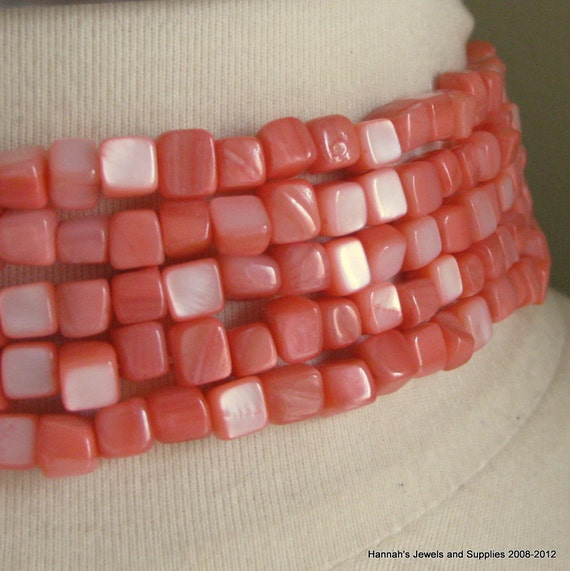 CLEARANCE SALE 35%OFF Bubble Gum Pink Coral Dyed Mother of Pearl 4mm - 6mm Cube Bead 7.5 inches (19cm)