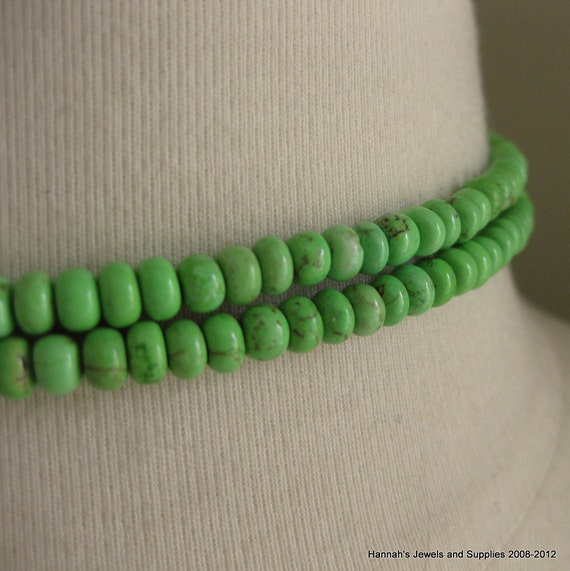 RESERVED LISTING FOR debbierodriguez2 4 X Apple Green Turquoise Dyed Magnesite Rondelles Beads 5mm by 3.5mm 30pcs