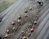 ADJUSTABLE industrial metal antiqued crochet wire choker with copper brass and gunmetal