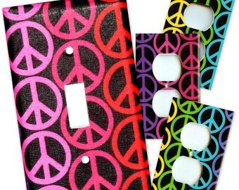 Rainbow Peace Signs Light Switch Plate/Outlet Covers Set