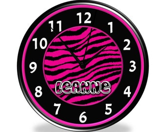 Hot Pink & Black Zebra Print Wall Clock - Personalized