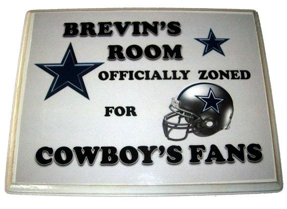 "Dallas Cowboys 8"" x 10""  Door Sign or Wall Plaque - Personalized - Blue/Silver Helmet - Star"