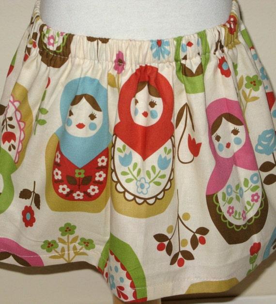 Matryoshka Russian Dolls Twirl Skirt ....3m,6m,9m,12m,18m,2T,3T,4T,5T,6.7