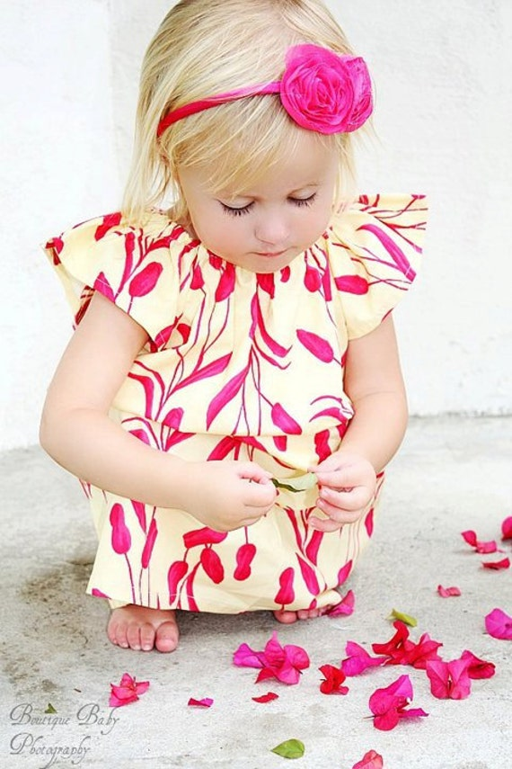 Raspberry Lakeside dress, Floral dress, girl dress, yellow dress, flutter sleeve dress