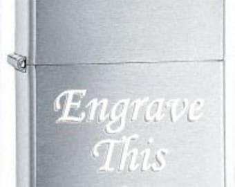 Custom BRUSHED Chrome ZIPPO Lighter w/Free engraving Gift Idea