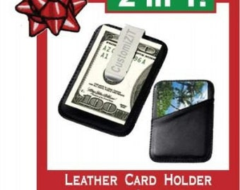 2in1-Leather card holder and Money Clip with Free Engraving