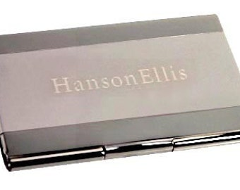 Custom 2-Toned Business Card Holder Free Engrave Gift