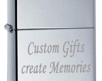 Chrome VINTAGE Zippo Lighter w/  Free Custom Engraving Gift Idea