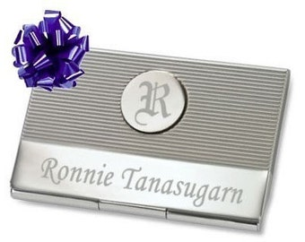 Circle Initial Business Card Holder with Free Engraving