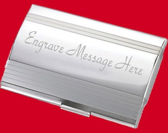 Custom Dome Striped Business Card Holder Free Engrave Gift Idea