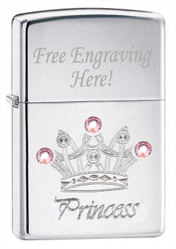 PRINCESS Crown Chrome ZIPPO Lighter with Free Engraving
