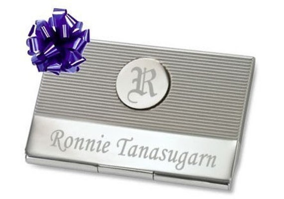 Circle Initial Business Card Holder with Free Engraving gift idea