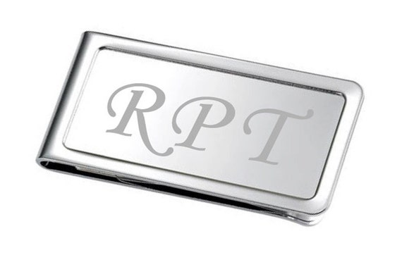 Custom Free Engraved -CHROME- MONEY CLIP (with bordered edges)