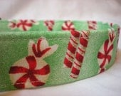 Christmas Peppermint Candy Fabric Dog Collar Boy Girl Green Red