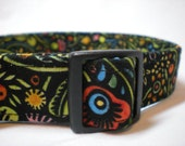 Fall Autumn Black Red Flowers Dog Collar Boho Folk