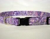 Purple Paisley Fabric Cat Collar