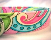 Dog Collar Preppy Green Pink Paisley Flowers for Girl