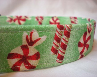 Christmas Dog Collar Peppermint Candy Fabric