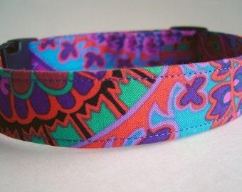 Purple Paisley Fabric Dog Collar Kaffe Fassett
