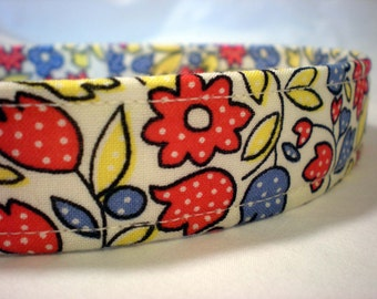 Country Flowers Dog Collar Girl Boy Red Blue Yellow