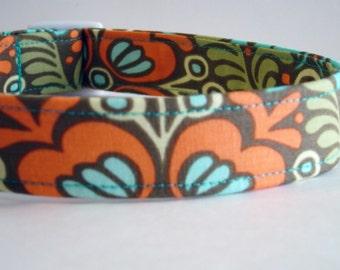 Boy Girl Dog Collar Amy Butler Fabric Olive Brown Green Orange Aqua