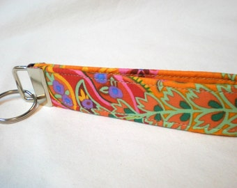 Key Fob, Key Chain Wristlet Kaffe Fassett Tangerine Paisley Jungle Fabric