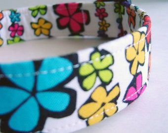 Boho Hippie Flowers Fabric Dog Collar Blue Red Pink