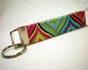 Geometric Key Fob, Orange, Blue, Purple Key Chain, Wristlet