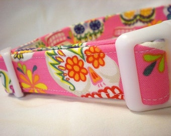 Pink Sugar Skulls Fabric Dog Collar Day of the Dead - Limited Quantity