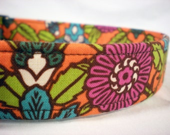 Purple Orange Flowers Fabric Dog Collar Girl Boy- LAST ONE