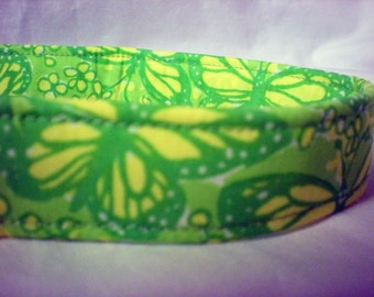 Vintage Lilly Pulitzer Yellow Green Butterflies Fabric Dog Collar