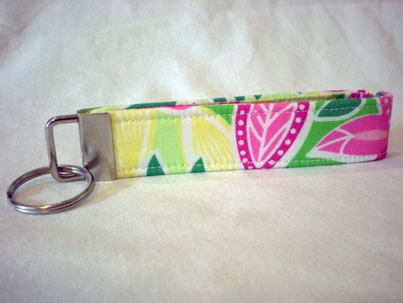 Lilly Pulitzer Fabric Key Fob Green Pink Flowers