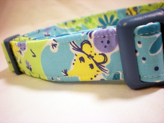 Lilly Pulitzer Fabric Dog Collar Boy Girl Blue Golfing Mice Mouse