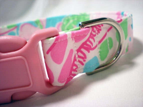 Lilly Pulitzer Pink Princess Patch Fabric Girl Dog Collar - Limited Quantity