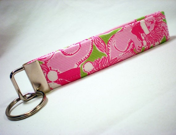 Key Fobs, KeyChains, Key Tags, Wristlet- Lilly Pulitzer Santa Lion Fabric-Womens Accessories by PinkysPetGear on Etsy