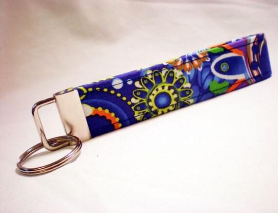 Blue Orange Flower Key Fob Key Chain, Wristlet, Bridesmaid, Party Favor, Teacher Gift