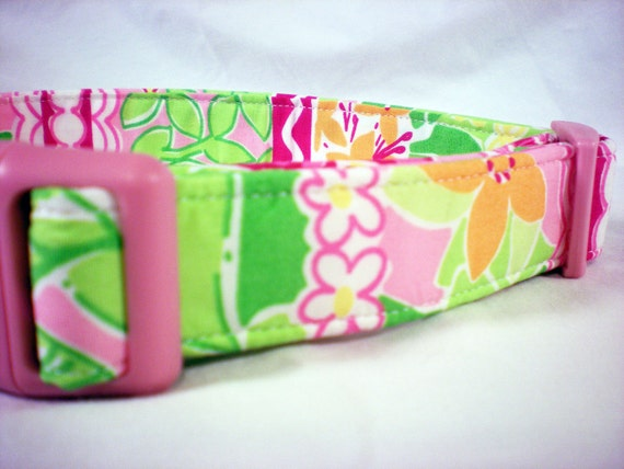 Lilly Pulitzer Fabric Girl Dog Collar Pink Green Orange Flowers - Limited Quantity